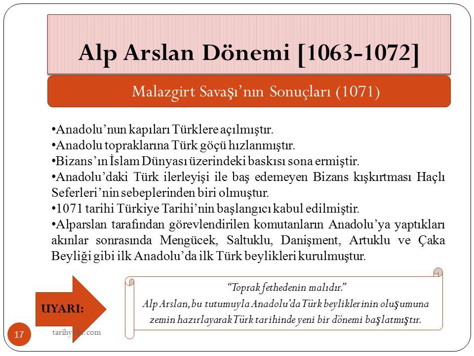 Alp Arslan Dönemi [1063-1072] Malazgirt Savaşı'nın Sonuçları (1071)